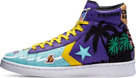 """171240C Converse x Chinatown Market """"Lakers Championship Jacket"""" Pro Leather High Top"""