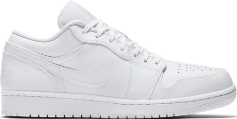 553558-130 Jordan 1 Low Triple White Tumbled Leather