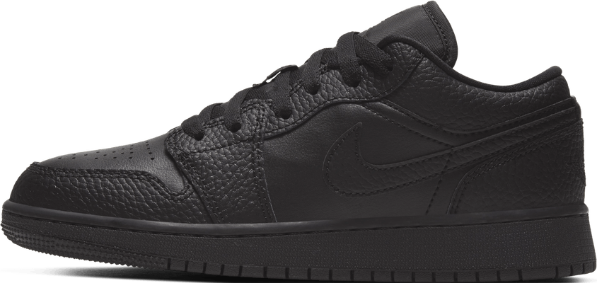 553560-091 Jordan 1 Low Tumbled Leather Black (GS)